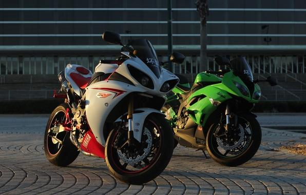 Picture green, motorcycles, the evening, white, yamaha, Kawasaki, kawasaki, Yamaha, ninja, zx-6r, yzf-r1