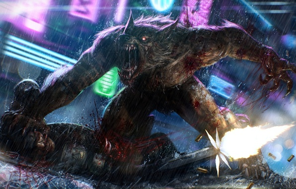 Picture weapons, rain, blood, neon, blow, male, werewolf, LMS, shots, Last Man Standing