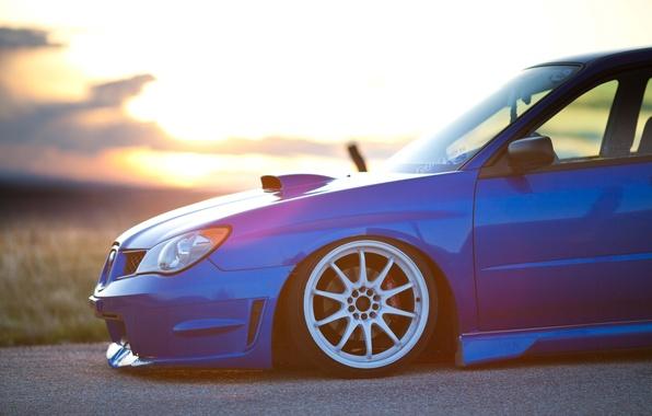 Picture road, blue, Subaru, wrx, impreza, sti, blasto