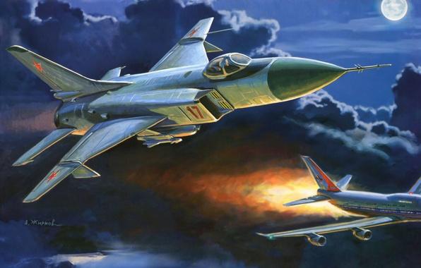 Picture the sky, night, clouds, the moon, fighter, art, the plane, passenger, Soviet, interceptor, burning, Su-15, …
