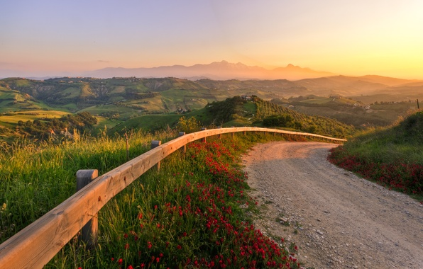 Picture road, sunset, nature, hills, Italy, fabulous sunset