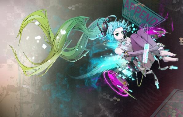 Picture Vocaloid, anime, blue hair, anime. Miku, vokaloid