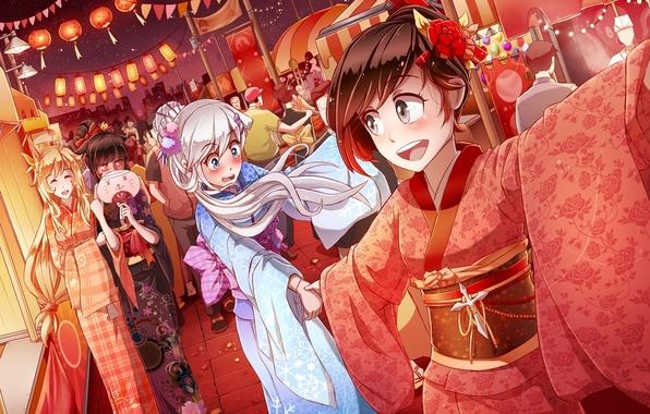 Picture night, girls, holiday, anime, art, kimono, rwby, ruby rose, yang xiao long, blake belladonna, white …