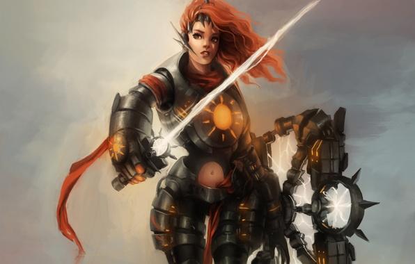 Picture girl, lightning, sword, fantasy, art, tape, red, armor, shield