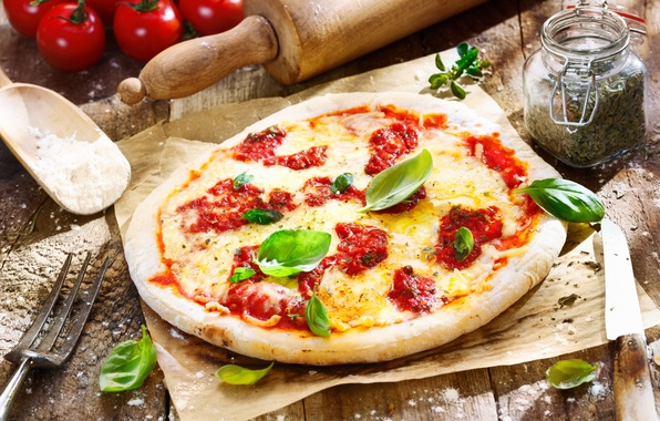 Picture food, cheese, knife, plug, pizza, tomatoes, pizza, dish, spices, the dough