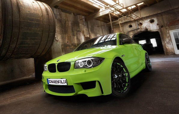 Picture machine, green, BMW, Coupe, tuning, the front, 1 series