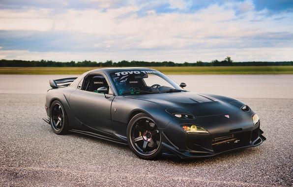Picture car, tuning, black, tuning, Mazda, rechange, matte, Mazda RX-7