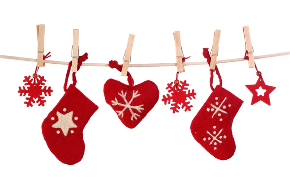 Picture snowflakes, heart, New Year, Christmas, socks, Christmas, decoration, Merry