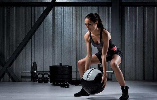 Photo wallpaper woman, female, workout, ball training
