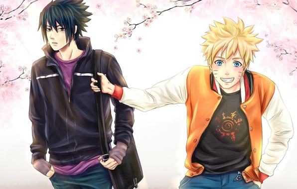 Picture spring, Sakura, Sasuke, Naruto, friends, naruto, art