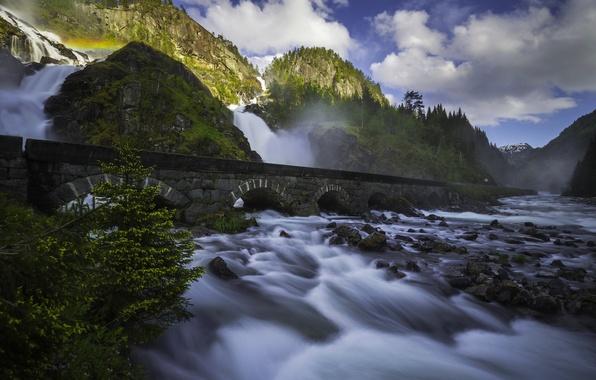 Picture mountains, bridge, river, stones, rocks, waterfall, Norway, cascade, Norway, Odda, Give, Latefoss, Latefossen