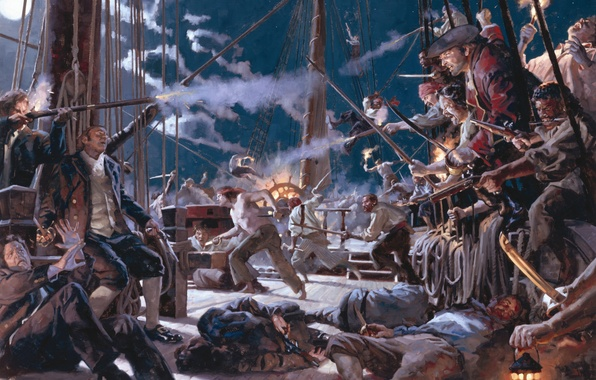 Picture night, death, smoke, ship, shot, pirates, moon, horror, gun, moonlight, corpses, swords, night, fight, gunpowder, …