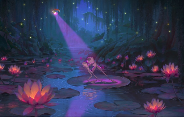 Picture night, fireflies, cartoon, lights, Lotus, Disney, The Princess and the Frog, Ray, frog Naveen, frog …
