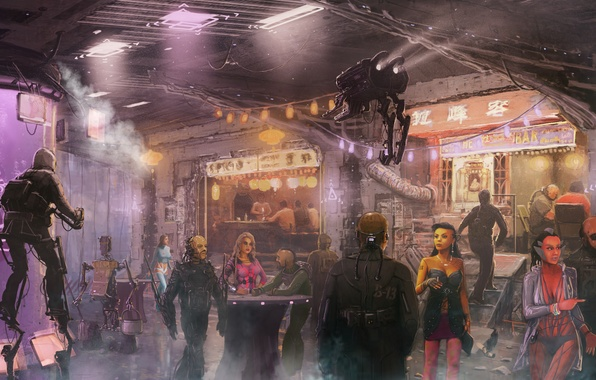 Picture water, girl, people, robot, art, tables, cafe, tank