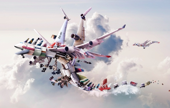 Picture clouds, rendering, dragons, technology, flight, aircraft, engines, types, many, technological airlines, brands, cargo, Dragon fly