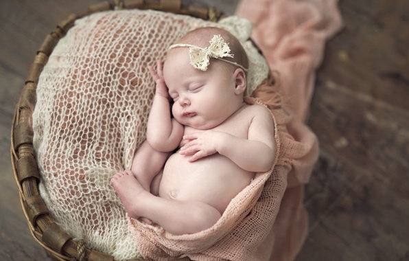 Picture basket, child, sleep, girl, bow, baby, baby