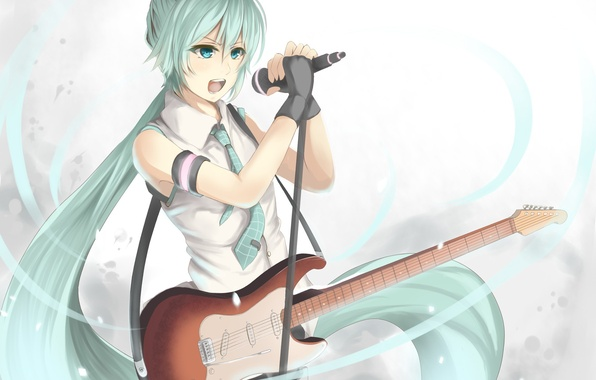 Picture girl, guitar, anime, art, microphone, Hatsune Miku, Vocaloid, Vocaloid