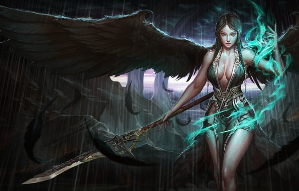 Picture erotic, pose, weapons, magic, wings, feathers, art, girl. look