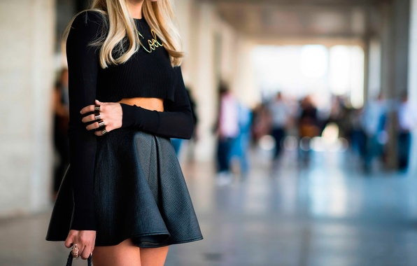 Picture leather, New-York, rings, skirt, sweater, flare, street style, fashion week, spring-2014, black crop