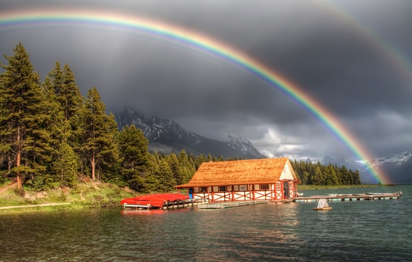 Picture forest, mountains, river, Marina, rainbow, house