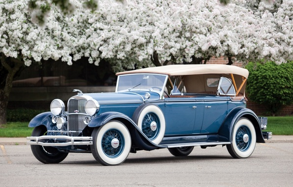 Picture Lincoln, flowers, background, Sport, 1931, Lincoln, Phaeton, retro.the front, Model K