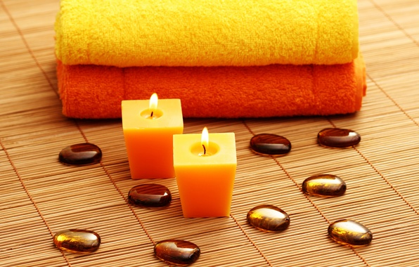 Picture stones, candles, towels, Spa, Mat, spa