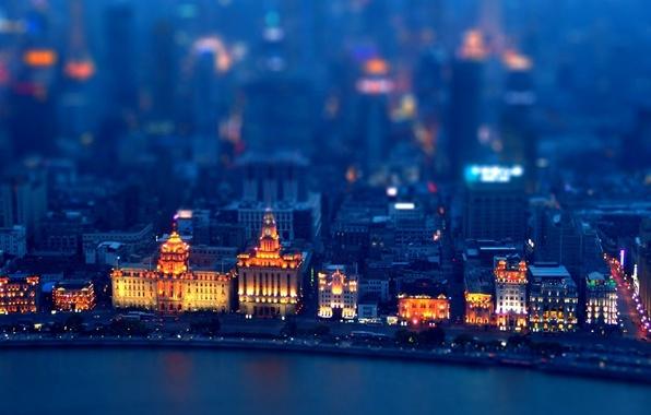 Picture Home, Lights, Night, The city, Street, Movement, Building, Tilt-Shift, Coast, Tilt-Shift