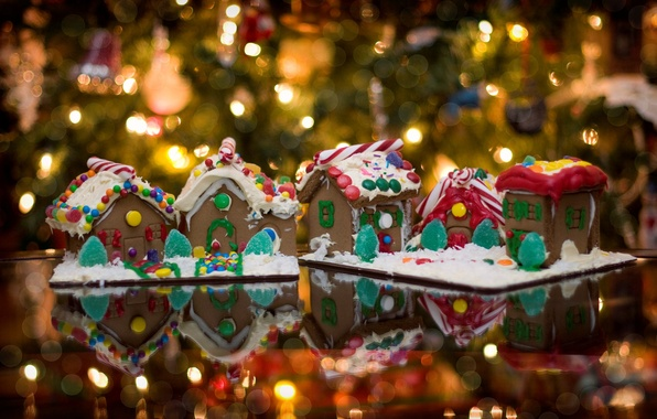 Picture lights, mood, holiday, tree, food, houses, garland, year, new, gingerbread