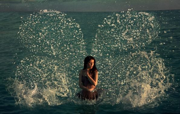 Picture girl, Art, sea, the, water, from, wings, butterfly, beautiful, heaven, and, splashes, fantastic, author, drops, …