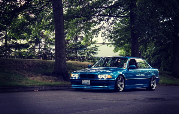 Picture road, tuning, bmw, BMW, classic, blue, e38, stance, 750il