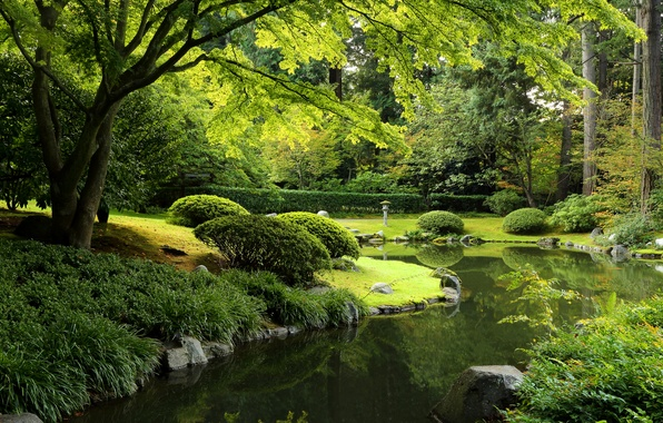 Picture greens, grass, trees, pond, Park, stones, Canada, lantern, Vancouver, the bushes, Nitobe Garden