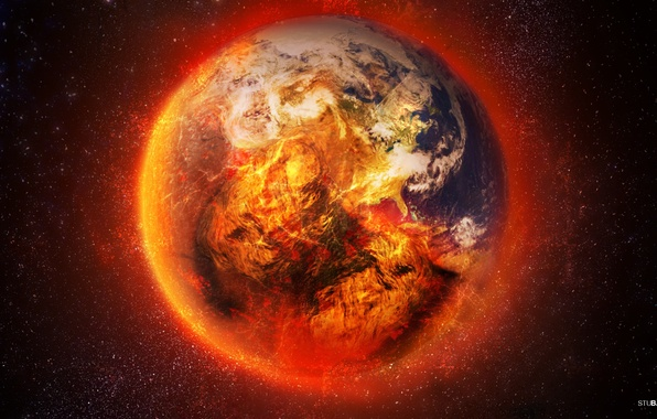 Picture stars, fire, earth, planet