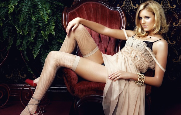 Picture girl, feet, chair, stockings, dress, actress, blonde, Maggie Grace, Maggie Grace