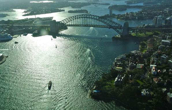 Picture bridge, the city, Australia, Sydney, Australia, Sydney, Sydney Harbour Bridge, akvatoriya., Harbour Bridge