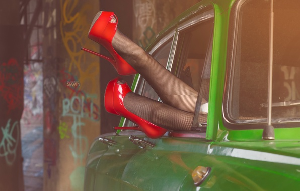 Picture car, girl, red, green, retro, green, shoes, red, girl, legs, the pinup, cars, pinup, girls, …