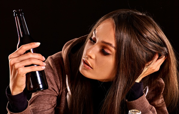 Picture girl, sadness, bottle, brown hair, black background, jacket, sitting, longing, thought