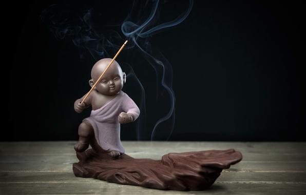 Picture smoke, figure, the incense