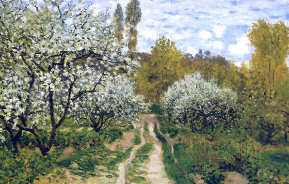 Picture landscape, picture, spring, garden, Claude Monet, Trees in Bloom