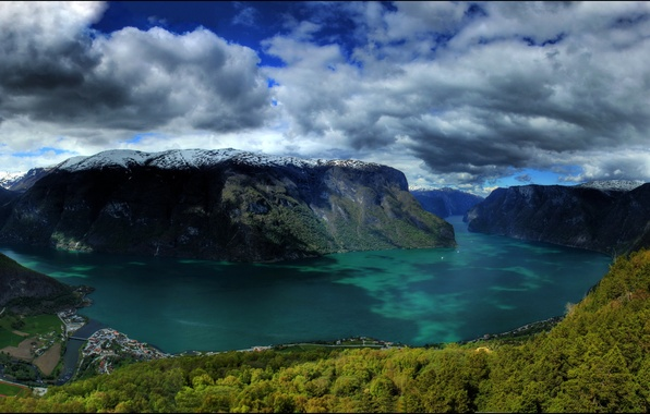 Picture forest, clouds, snow, clouds, nature, lake, Norway, Norway, town., the rocks of the mountains, muntains