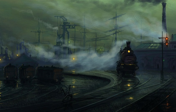 Picture the way, lights, rails, the engine, the evening, art, by Raphael Lacoste, industrial Landscape study