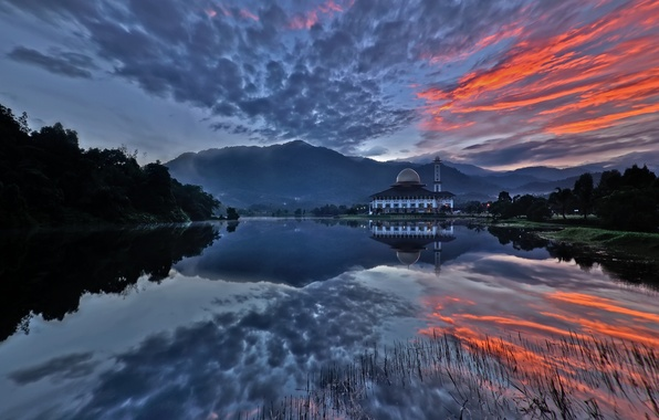 Picture forest, sunset, clouds, lake, the building, tower, the dome