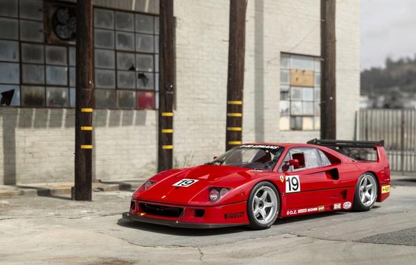 Wallpaper Red, Retro, Tuning, Ferrari, F40, Car, Metallic