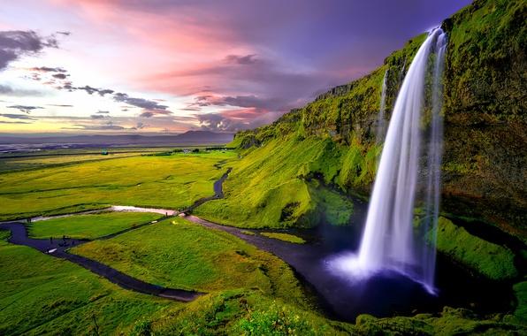 Picture greens, rocks, waterfall, Iceland, Seljalandsfoss