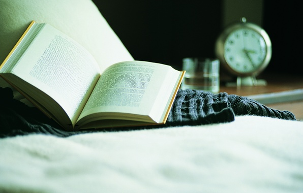 Picture macro, glass, table, sofa, stay, watch, water, alarm clock, book, sweater, reading