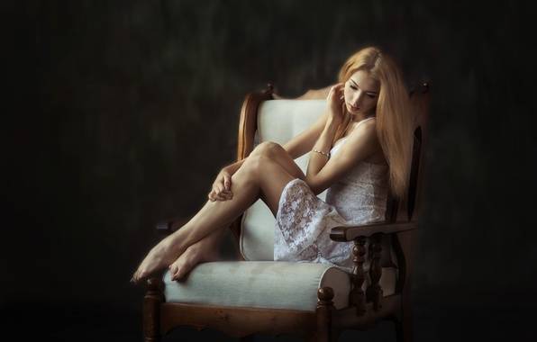 Picture girl, pose, background, patterns, sweetheart, portrait, blur, chair, dress, blonde, legs, beautiful, beautiful, transparent, beauty, …