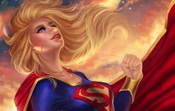 Picture look, girl, flight, costume, DC Comics, Supergirl