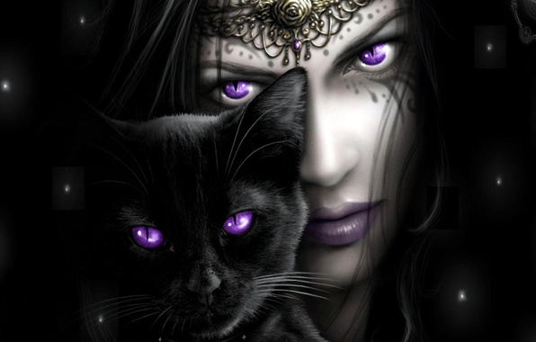 Picture BACKGROUND, GIRL, LOOK, BLACK, CAT, FACE, EYES