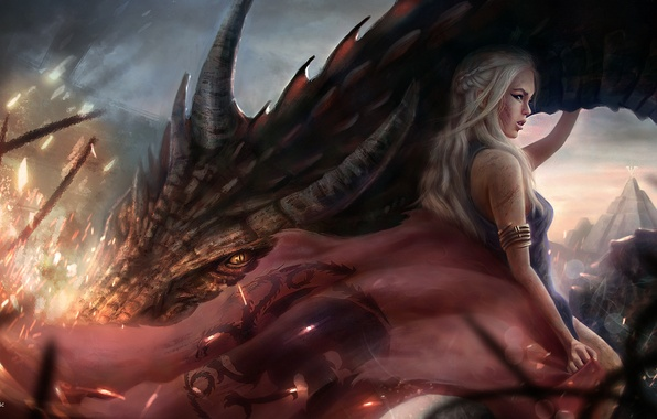 Picture Girl, Dragon, Blonde, Hair, Art, Movies, Game of Thrones, Game of thrones, Emilia Clarke, Daenerys …