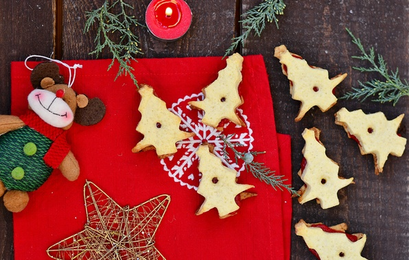 Picture decoration, holiday, star, food, candle, cookies, Christmas, New year, star, Happy New Year, Merry Christmas, …