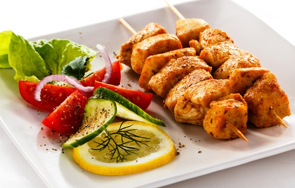 Picture lemon, bow, plate, meat, tomatoes, kebab, cucumbers, salad